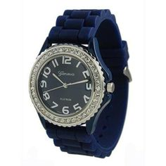 Mens & Womens Dark Blue Silicone Crystal Large Face Watch Geneva. $9.76. Silicone Band. Crystals Around Watch Face. Quartz Movement. Stainless Steel Back. Fun Colors & Designs for Everyone. Save 51%!