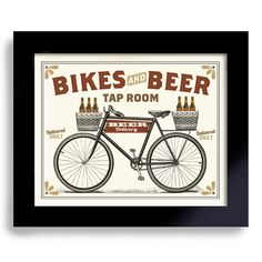 Bicycle Art, Beer Sign, Cycling Art, Kitchen Art, Pub Decor, Beer Gift 8x10 $18.00