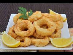 Calamares a la Romana tiernos y esponjosos Crawfish Recipes, Seafood Recipes, Squid Recipes, Food Decoration, Calamari, Tapas, Salmon, Food And Drink, Sushi