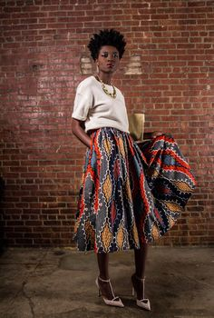 NEW The Shavon -[African Print 100% Holland Wax Cotton Midi Skirt] ~Latest African Fashion, African women dresses, African Prints, African clothing jackets, skirts, short dresses, African men's fashion, children's fashion, African bags, African shoes ~DK