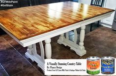 Phancy Design, http://www.phancydesign.ca/, refinished this amazing table with GF Linen Milk Paint and Antique Walnut Gel Stain.  Check out the grain of that table top!