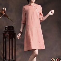 布衣风格衣庄可人原创设计粉色改良亚麻旗袍【踏浪】