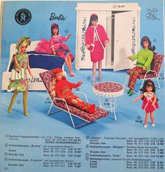 Barbie, Casey, Francie, Skipper and Tutti with Bedroom and Patio Furniture (German?) Ad, 1968