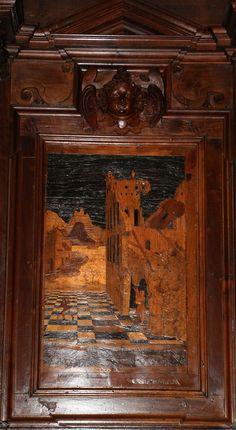 Fra Damiano Zambelli - la morte di Sansone - tarsie del coro - 1510-20 circa - Chiesa dei Santi Bartolomeo e Stefano - Bergamo (Italia)
