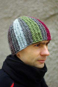 Reflective striped multicolor knitted hat  Mens  ESTtoYou Kootud müts meestele
