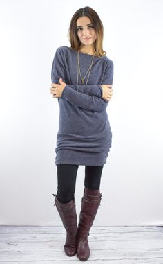 This tunic is a comfortable classic. Pair this with tall boots and your favorite Leggings!   SIZES (Fits true to size in relaxed)  Small (0-4) Medium (6-8) Large (10-12) XL (14-16)  80% Rayon 20% Polyester Made in USA
