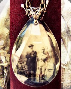"Fragments of Time - Vintage Chandelier Crystal Memorial pendant (custom piece ""Grandparents"" photo ca. 1932).    by Jennifer Fields www.etsy.com/shop/Romantiquity"