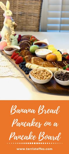 Banana Bread Pancakes are perfect for your Easter brunch. Tips for putting together the perfect pancake board are included. #pancakeboard #bananabreadpancakes #pancakes #pancakecharcuterie