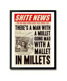 Half Man Half Biscuit National Shite Day Man with a Mullet Poster Art Print #PopArt