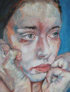 Denise Serra {contemporary art female head hands woman face portrait painting}