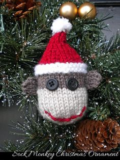 Sock Monkey Christmas Ornament Knitting Pattern-Not Free Knitted Christmas Decorations, Knit Christmas Ornaments, Crochet Christmas Ornaments, Christmas Knitting Patterns, Christmas Crafts, Holiday Crochet, Handmade Ornaments, Felt Ornaments, Christmas Angels