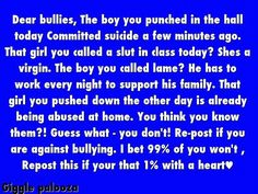 Watch for and speak out against bullying...
