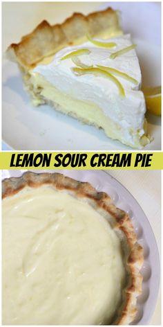 Lemon Sour Cream Pie recipe from RecipeGirl.com #lemon #sour #cream #sourcream #pie #recipe #RecipeGirl Sour Cream Lemon Pie Recipe, Cream Pie Recipes, Cookie Recipes, Dessert Recipes, Easy Holiday Recipes, Fun Easy Recipes, Popular Recipes, Christmas Recipes, Delicious Recipes