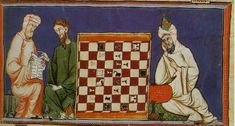 "llumination from the 13th-century Castilian manuscript ""Libro de los Juegos"" (Book of Games), or ""Libro de acedrex, dados e tablas"" (Book of Chess, Dice and Boards), commissioned by Alfonso X of Castile. El Escorial Library - ms. T.I.6"