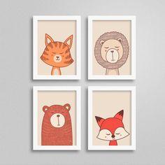 Kit Quadros Bichinhos para para decoração do Quarto de Bebês. Diversos temas: leão, tigre, urso e raposa. Acesse e confira as opções!