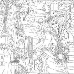 Coloriage femmes victorienne pour adulte. Imprimer image noir&blanc, coloriez ce dessin anti stress et relaxez. Free adult colouring page!!