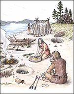 Arbetsområde om forntiden. Åk 2 fördjupar sig i istiden och stenåldern medan åk 3 även arbetar med bronsåldern och järnåldern.
