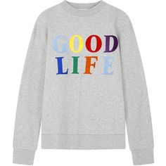être cécile Good Life Boyfriend Sweatshirt ($125) ❤ liked on Polyvore featuring tops, hoodies, sweatshirts, shirts, sweaters, sweatshirt, fleece lined shirt, long sleeve cotton shirts, cotton sweatshirts and multicolor shirt