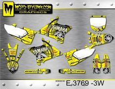 Yellow and black full graphics kit for Yamaha YZ 250 - including white number plate backgrounds Yamaha Yz 125, Decals, Graphics, Tags, Charts, Graphic Design, Decal