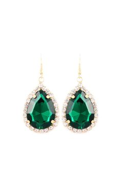 Classic Crystal Teardrops in Emerald