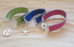 $22 Zipper bracelets with charm  3/4 wide by AlexsCollection on Etsy