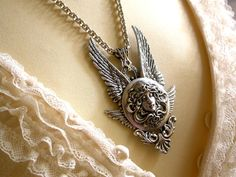 Gothic Necklace Silver Medusa Angel Wings Fantasy от LeBoudoirNoir