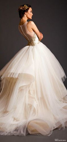 Tulle and a lot of embroideries are what he has used for the creation of these stunning evening dresses. Divas,in this post you can take a look at Krikor Jabotian Spring/Summer Wedding Attire, Wedding Gowns, Wedding Blog, Spring Wedding, Tulle Wedding, Wedding Bride, Wedding Photos, Wedding Ideas, Beautiful Gowns