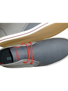 Canvas Midtops - Two toned- heather and dark gull grey canvas - Dark Grey stitch detail - 2 hole red contrasting eyelets with compressed waxed cotton lacing - Vulcanized sole with traction - Slim red