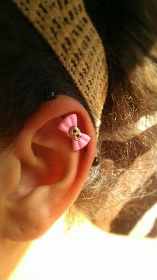 Black PVD Pink Bow Skull Industrial Barbell | Body Candy Body Jewelry #piercing #industrial #scaffold #bodycandy $11.99