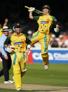 Ponting celebrates after scoring a one-day century during against England