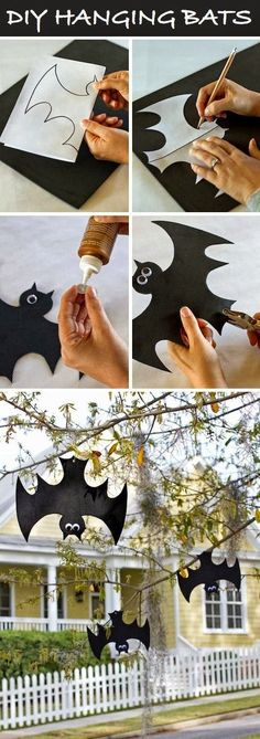 The best DIY decor for Fall and Halloween. How cute are these bats! The kids will love making these this Halloween :)