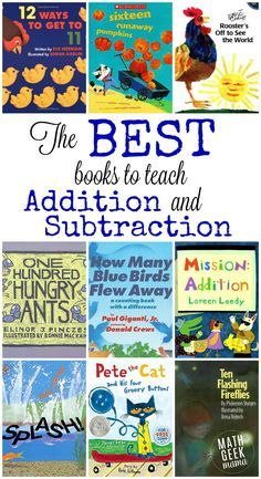 huge list includes all the best books to teach addition and subtraction, as well as free resources to go along with them!This huge list includes all the best books to teach addition and subtraction, as well as free resources to go along with them! Math Classroom, Kindergarten Math, Teaching Math, Math Literacy, Teaching Ideas, Best Kindergarten Books, Subtraction Kindergarten, Teaching Money, Literacy Centers
