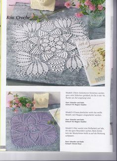 Szydełkomania: Serwetka Free Crochet Doily Patterns, Crochet Doily Diagram, Filet Crochet Charts, Crochet Squares, Crochet Table Topper, Crochet Tablecloth, Crochet Dollies, Crochet Home, Thread Crochet