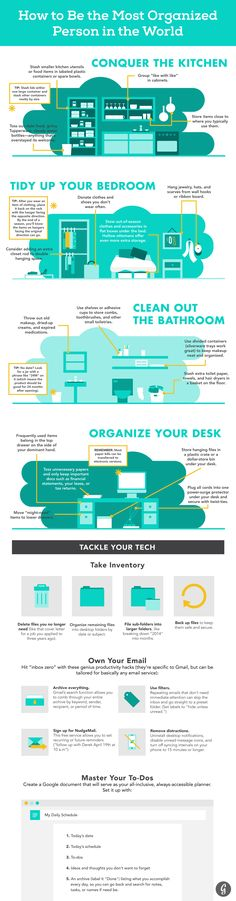 How to Be the Most Organized Person in the World #infographic #Home #DIY #HowTo #Infografía