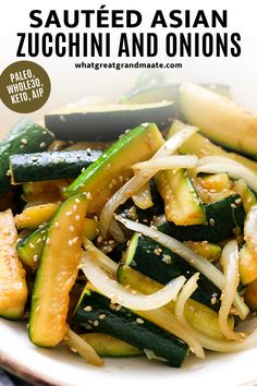 Whole30 and keto Asian zucchini and onions that's quick, easy, and flavorful. Learn how to make this delicious paleo side dish so the zucchini do not turn out mushy, but crunchy and amazing. It's also very easy to make AIP! #paleosidedish #zucchinirecipe #whole30 #keto #paleo #lowcarb #grainfree #glutenfree Fried Zucchini Recipes, Zucchini Side Dishes, Salad Recipes Gluten Free, Sauteed Zucchini, Best Salad Recipes, Low Carb Side Dishes, Healthy Side Dishes, Side Dish Recipes, Whole Food Recipes