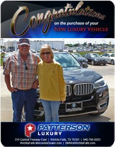 Congratulations to Coye and Jonnie Hamm on their new 2014 BMW - From Tyler Caskey at Patterson Luxury Luxury Vehicle, Luxury Cars, New Bmw, Bmw X5, Mercedes Benz, Congratulations, Vehicles, Rolling Stock, Fancy Cars