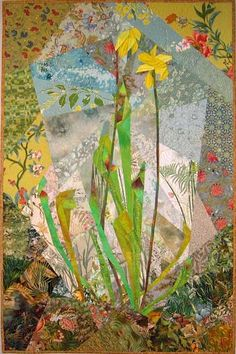 Pitcher Plants of the Pocosin – Ann Harwell, Fabric Artist Fabric Artwork, Flora Flowers, Pitcher Plant, Quilting Board, Flower Quilts, Green Quilt, Carnivorous Plants, Textile Art, Fiber Art