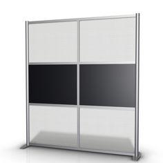 """68"""" wide x 75"""" high Room Divider, Black & Translucent SW6875-2M-BLK-4M-HTW"""