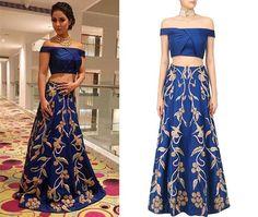 Hina Khan in Reeti Arneja's Blue Crop Top and Skirt Set  #reetiarneja #hinakhan #getthelook #celebcloset #celebstyle #contemporarywear #indianfashion #Indiandesigners #shopnow #perniaspopupshop #happyshopping