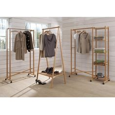 Bamboo Folding Clothes Rack with Shelf Folding clothes rack:Folding shelf.In bamboo with a nitrocellulose finish.This folding clothes rack is self-assembly.Overall size:folded, x x cm.Size and weight of parcel: 1 x 30 x 9 kg. Bamboo Furniture, Diy Furniture, Furniture Design, Furniture Outlet, Folding Clothes Rack, Dressing Ikea, Clothes Stand, Bamboo Crafts, Hanging Racks