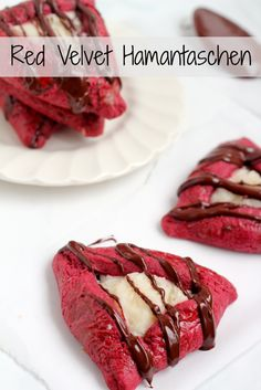 Red Velvet Hamantaschen for Purim! Chocolately cookies with cream cheese filling and drizzled chocolate. Heck yeah.