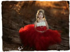 Red Flower Girl Dress Red Tutu Dress Red Flower by Boutique321