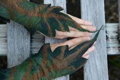 Felt Fairy Pixie Woodland Nymph Pointed Leaf Cuff Matching Bracelet Wrist Warmers OOAK
