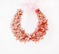 Pink Flowers Collar, Peach,  Wedding  Flower Collar Necklace, Blush, Wedding Collar Necklace,  Wedding Accesories, Bridesmaid , Flower Girl via Etsy