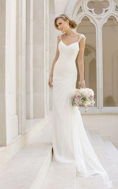 Stella York Spring 2015 Bridal Collection - Nadyana Magazine Sheath Wedding Gown, Wedding Dress Chiffon, Elegant Wedding Dress, Bridal Dresses, Wedding Gowns, Romantic Lace, Party Dresses, Chiffon Dresses, Sheath Dresses