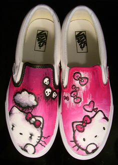 One shoe is regular Hello Kitty, and the other is Emo Kitty. Hello Kitty (C) Sanrio Hello Kitty Vans Painted Canvas Shoes, Custom Painted Shoes, Hand Painted Shoes, Custom Vans, Custom Shoes, Sharpie Shoes, Vans Shoes Fashion, Hello Kitty Shoes, Sneaker Art