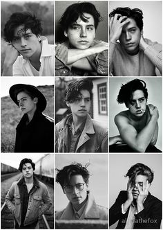 The idea of a series of images. Black and Whites. Expressions. Mostly similar in composition and style.  Cole Sprouse Black and Whites