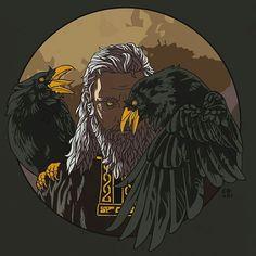 Odin and his ravens, Munin and Hugin (thought and memory) Odin Norse Mythology, Norse Pagan, Pagan Art, Thor Norse, Art Viking, Viking Warrior, Viking Runes, Celtic, Norse Tattoo