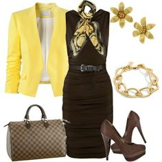 Stylish cut on dress, love the neck tie. Dress your black dress with color and accessories