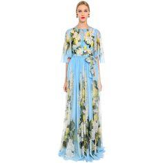 Dolce & Gabbana Women Floral Print Lightweight Silk Long Dress (6 850 AUD) ❤ liked on Polyvore featuring dresses, blue, floral dresses, blue dress, floral printed dress, silk dress and floral print long dress